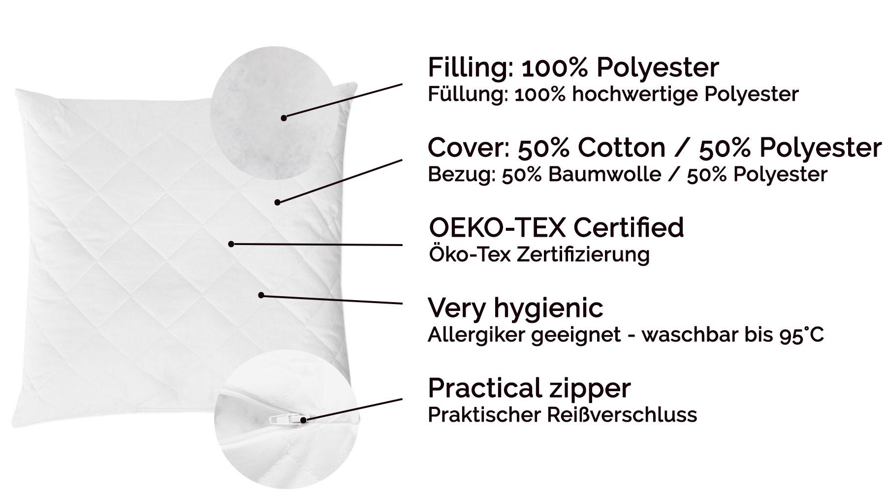 Indexbild 15 - 2er-Set Kopfkissen / Dekokissen / Füllkissen / Sofakissen / Kissenfüllung