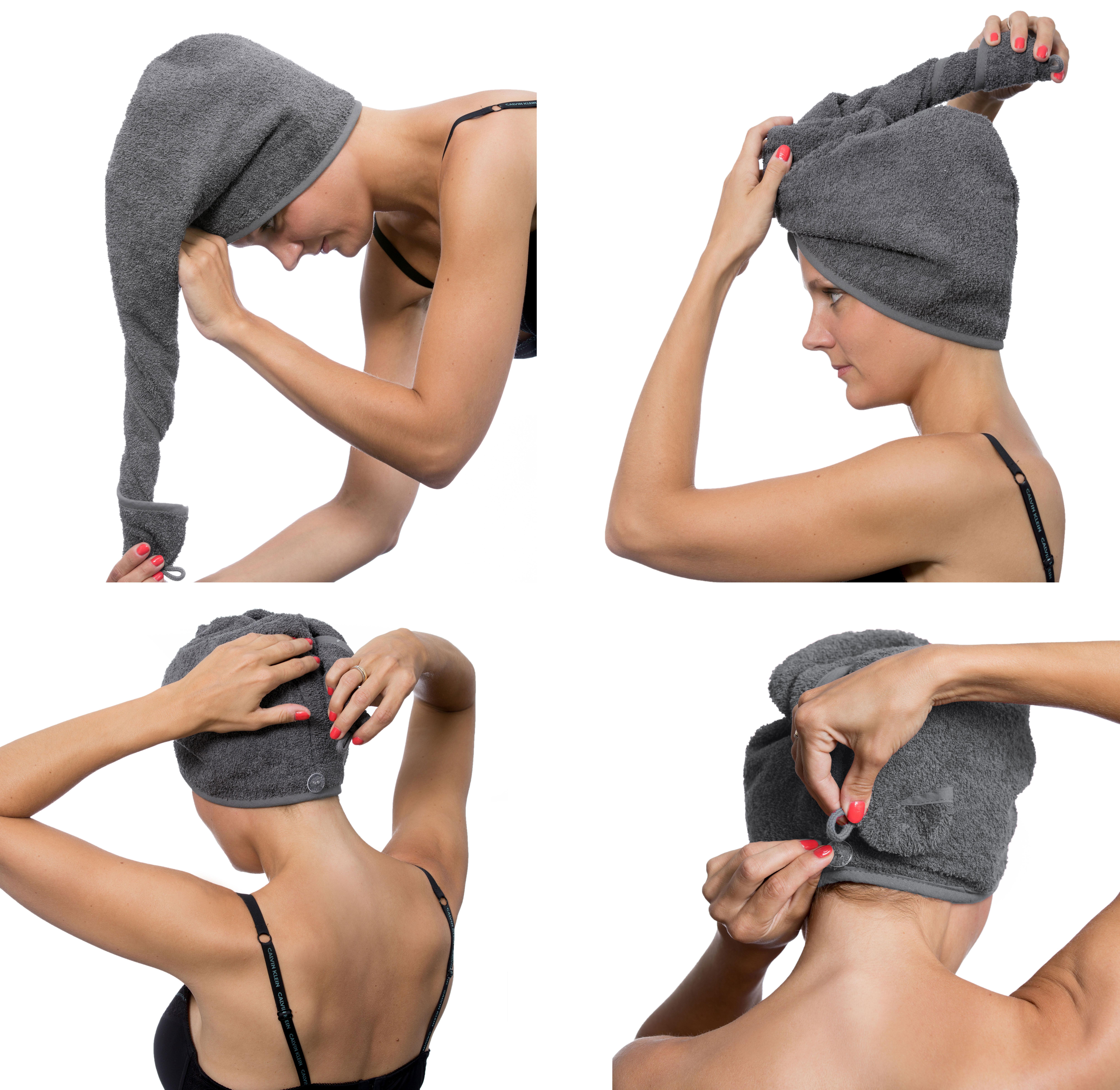 Haarturban / Kopfhandtuch / Haartrockentuch Knopf im Nacken,
