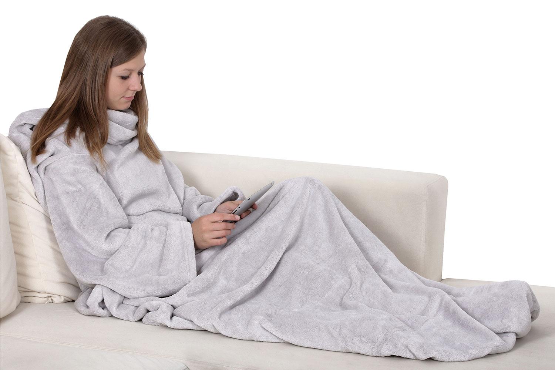 tv wohndecke mit rmel und fu und handytasche wolldecke kuscheldecke ebay. Black Bedroom Furniture Sets. Home Design Ideas