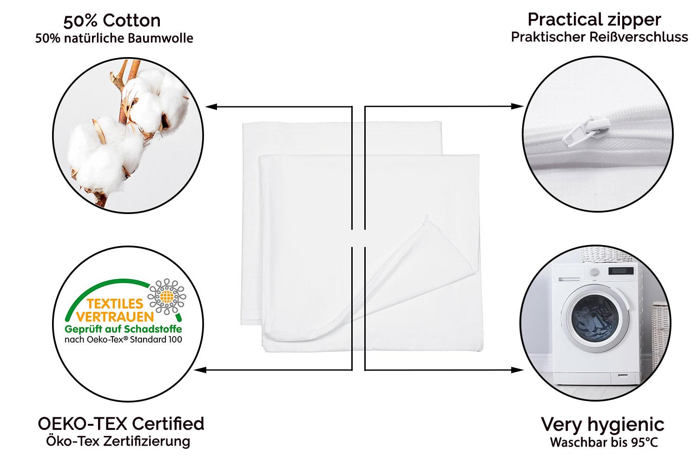 White 2er Set Nursing Pillowcase//Side Sleeper Pillow Cover